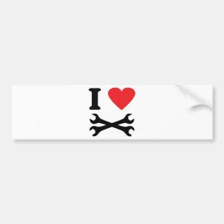 I love handcraft icon bumper sticker