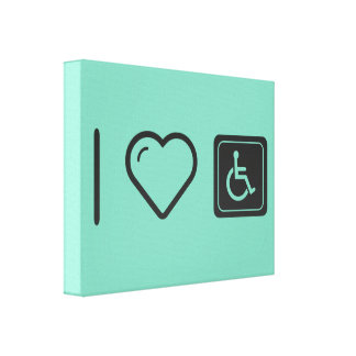 I Love Handicapped Logos Canvas Print