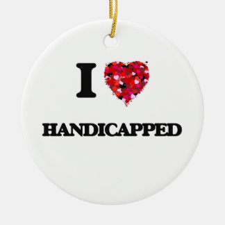 I Love Handicapped Double-Sided Ceramic Round Christmas Ornament