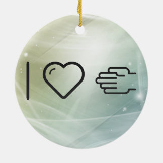 I Love Handshakes Double-Sided Ceramic Round Christmas Ornament