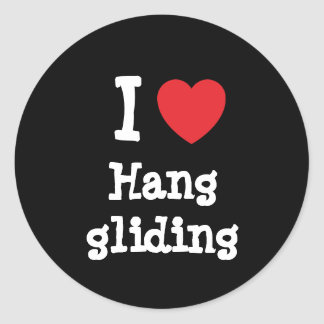 I love Hang gliding heart custom personalized Round Stickers