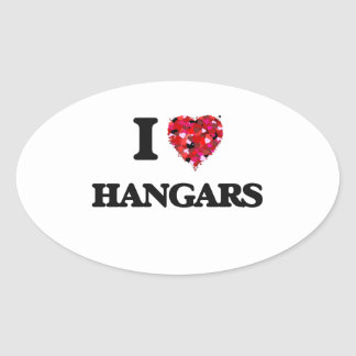 I Love Hangars Oval Sticker