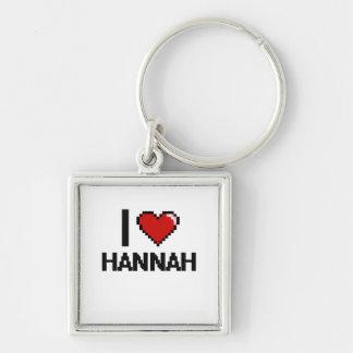 I Love Hannah Digital Retro Design Silver-Colored Square Keychain