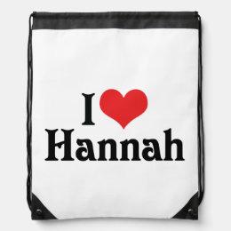 I Love Hannah Drawstring Backpack