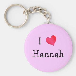 I Love Hannah Basic Round Button Keychain