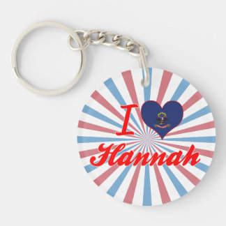 I Love Hannah, North Dakota Single-Sided Round Acrylic Keychain