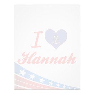 I Love Hannah, North Dakota Customized Letterhead