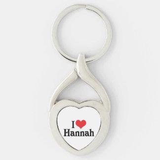 I Love Hannah Silver-Colored Heart-Shaped Metal Keychain