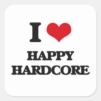 I Love HAPPY HARDCORE Square Sticker
