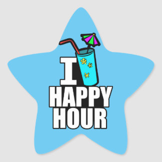 I Love Happy Hour Star Sticker