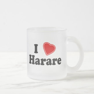 I Love Harare 10 Oz Frosted Glass Coffee Mug