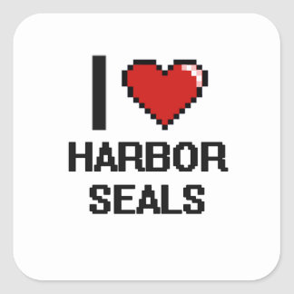 I love Harbor Seals Digital Design Square Sticker