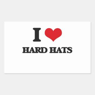 I love Hard Hats Rectangle Stickers