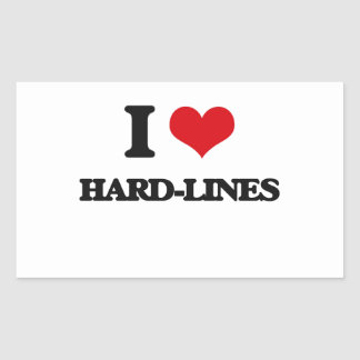 I love Hard-Lines Rectangle Stickers