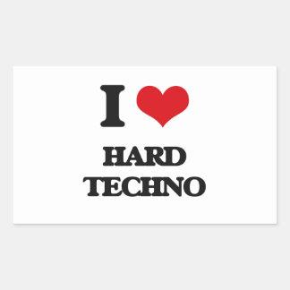 I Love HARD TECHNO Rectangular Sticker