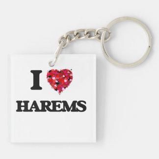 I Love Harems Double-Sided Square Acrylic Keychain