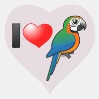 I Love Harlequin Macaws Heart Sticker