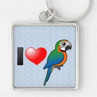 I Love Harlequin Macaws Key Chain