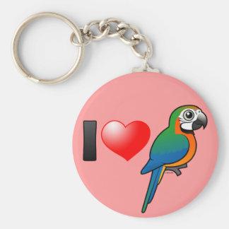 I Love Harlequin Macaws Keychain
