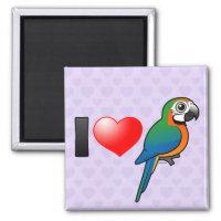 I Love Harlequin Macaws Square Magnet