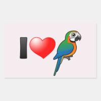 I Love Harlequin Macaws Rectangle Sticker