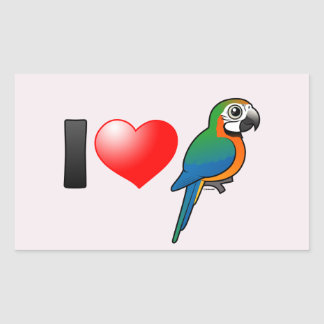 I Love Harlequin Macaws Rectangle Stickers