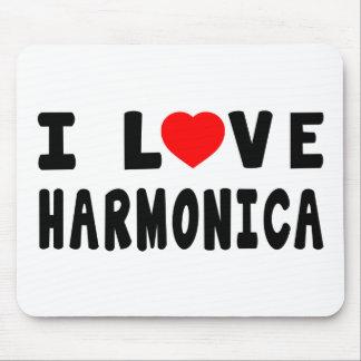 I Love Harmonica Mouse Pad