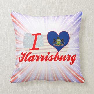 I Love Harrisburg, Pennsylvania Throw Pillows