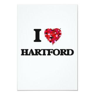I love Hartford Connecticut 3.5x5 Paper Invitation Card
