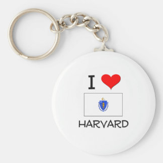 I Love Harvard Massachusetts Basic Round Button Keychain