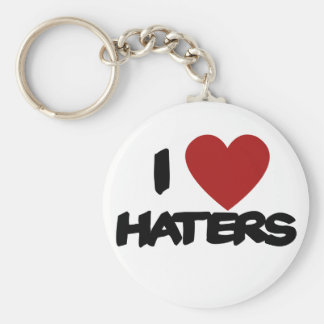 I Love Haters Basic Round Button Keychain