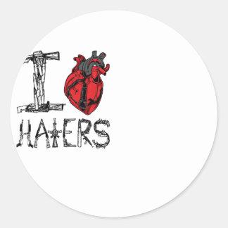 I love HATERS Classic Round Sticker