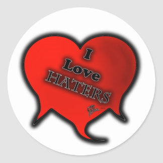 I LOVE HATERS GT ROUND STICKERS