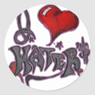 i love haters pink classic round sticker