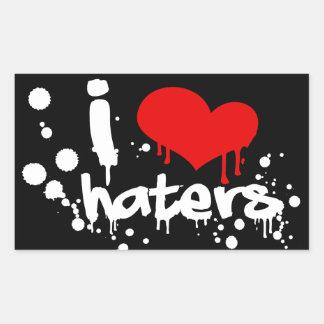 I Love Haters Rectangular Sticker