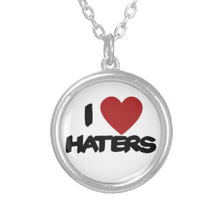 I Love Haters Round Pendant Necklace