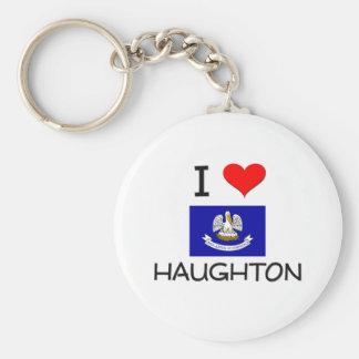I Love HAUGHTON Louisiana Basic Round Button Keychain