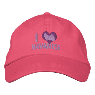 I Love Havanese Pink Embroidered Hats