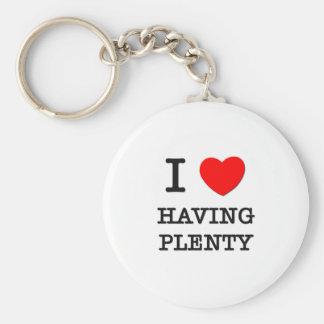 I Love Having Plenty Basic Round Button Keychain