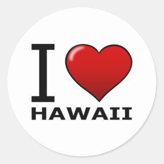 I LOVE HAWAII CLASSIC ROUND STICKER