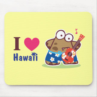 I Love Hawaii eyesore monster Playing the Ukulele  Mouse Pad