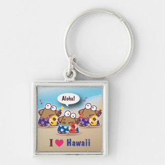 I Love Hawaii eyesore monster playing ukulele keyc Silver-Colored Square Keychain