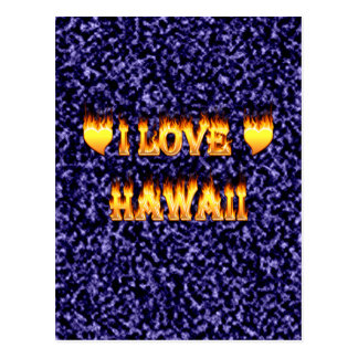 I love hawaii fire and flames postcard