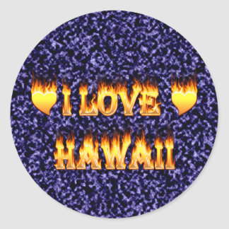 I love hawaii fire and flames round sticker