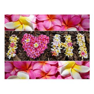 I love Hawaii Pink White Plumeria Flower Heart Postcard