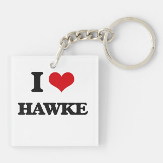 I Love Hawke Double-Sided Square Acrylic Keychain