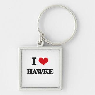 I Love Hawke Silver-Colored Square Keychain