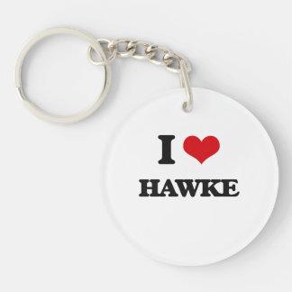 I Love Hawke Single-Sided Round Acrylic Keychain