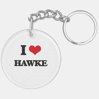I Love Hawke Double-Sided Round Acrylic Keychain
