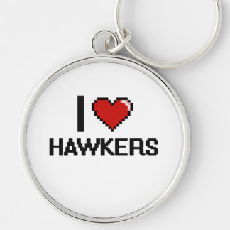 I love Hawkers Silver-Colored Round Keychain